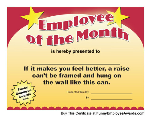 teacher of the month certificate template - employee of the month certificates download funny