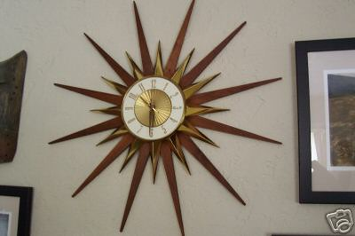 Aaa Vintage Elgin Starburst Eames Era Wall Clock 96