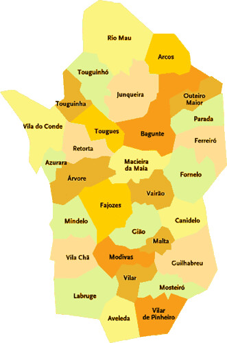 mapa portugal vila do conde Concelho de Vila do Conde   Portugal | Mapa das freguesias | Jorge  mapa portugal vila do conde