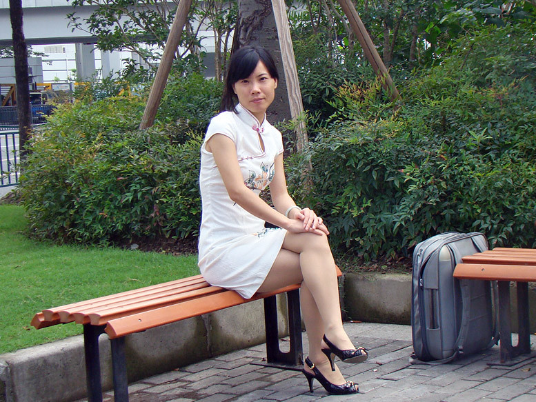 Short skirt asian shanghai chinese girl heels legs sexy - 1 9