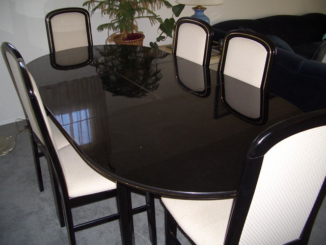 Black lacquer dining room set sl 2007 flickr for Black n white dining rooms