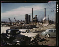 Steel and concrete go into place rapidly as a new steel mill takes form, Columbia Steel Co., Geneva, Utah. The new plant will make important additions to the vast amount of steel needed for the war effort  (LOC) | by The Library of Congress