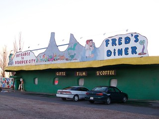 Fred's Diner, the entrance to Bedrock City and the chock-a-block gift shop/coffee bar - bedrock04x | by mlhradio
