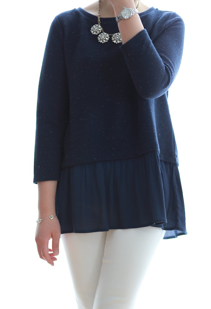 LOFT Flecked Two-In-One Sweater in navy, size XS regular