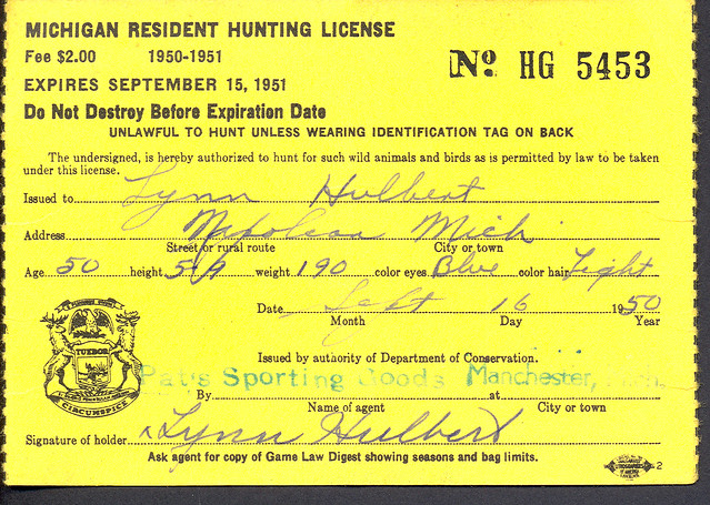 1950 michigan resident hunting license back w duck stamp for Fishing license app