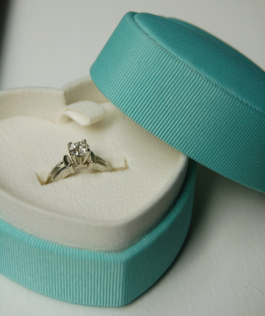 my engagement ring in a tiffany blue ring box bluejules