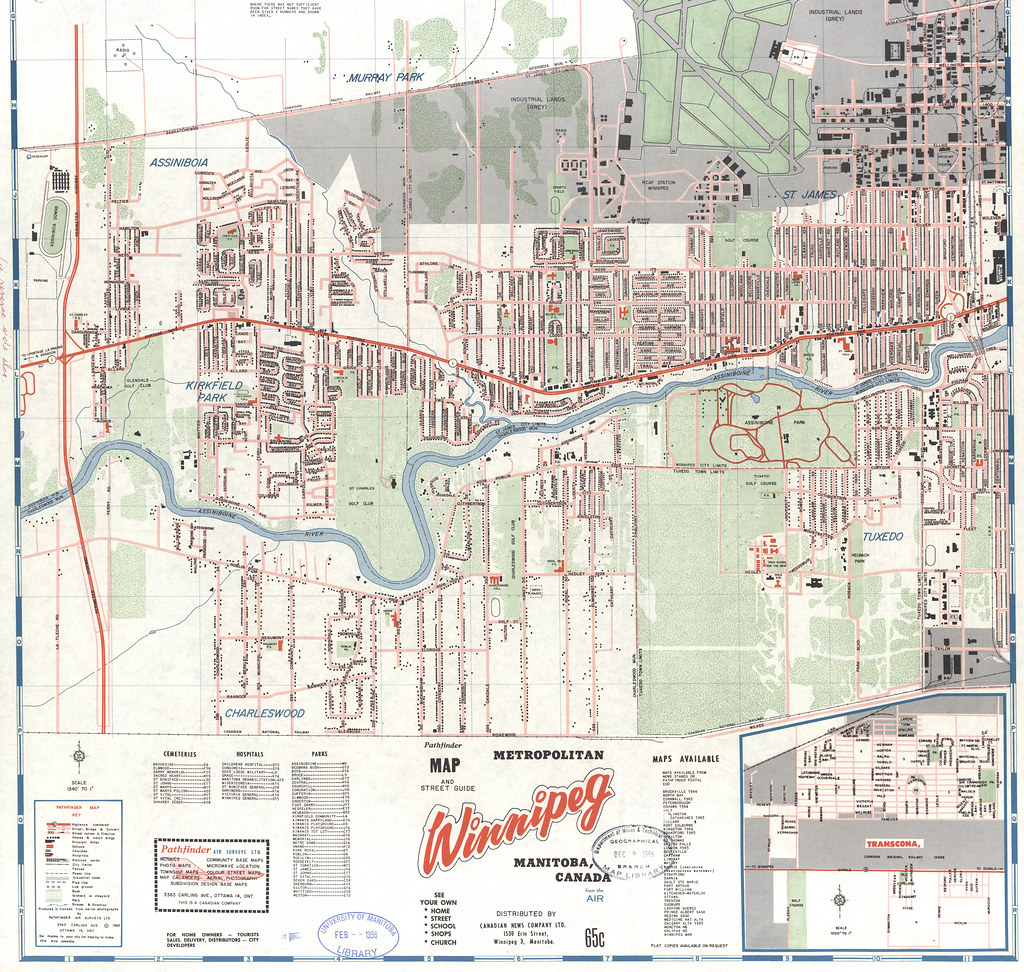 map and street guide metropolitan winnipeg manitoba canada from the air south west