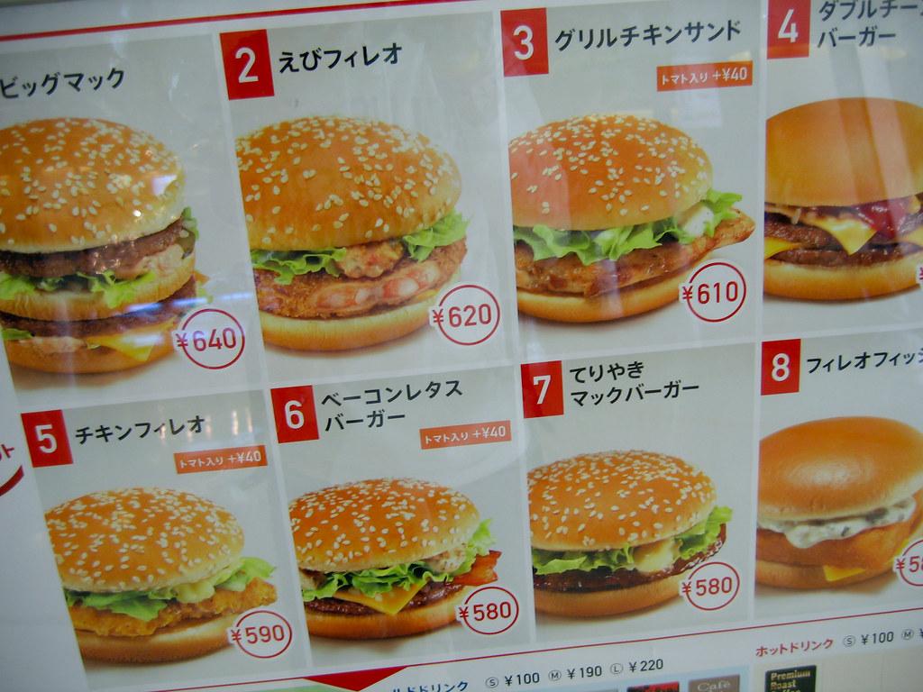 Typical Japanese Food Menu