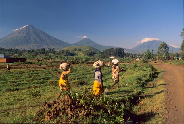 Street Scene Kisoro Uganda Womans With The Virunga Mt