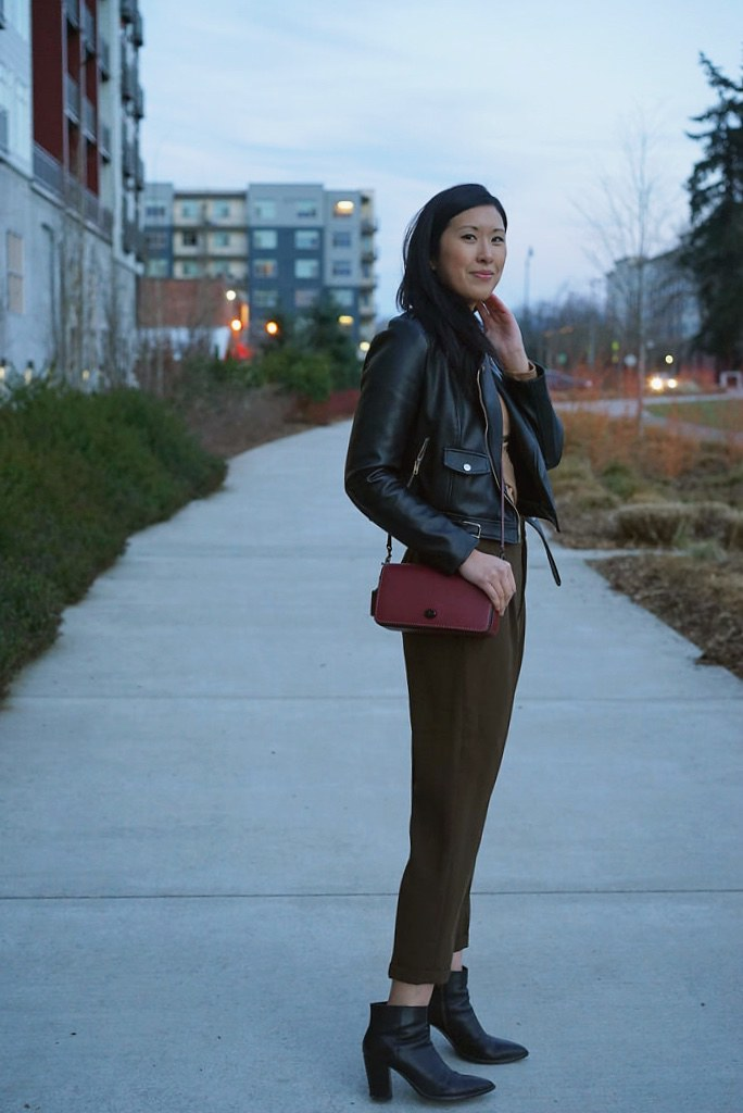 moto jacket with olive trousers