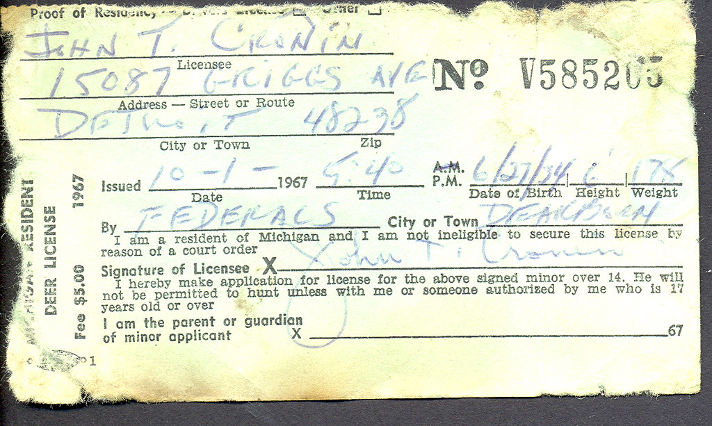 1967 michigan resident deer hunting license don the for Fishing license michigan