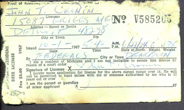 1967 michigan resident deer hunting license flickr for Michigan non resident fishing license