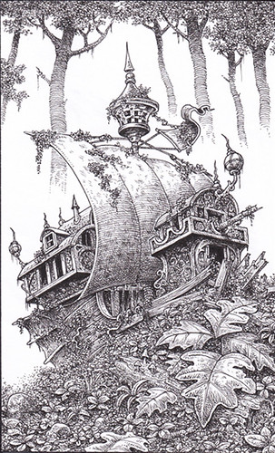 The  Stone Ship - An ancient flying ship has crash landed in the heart of the jungle and turned to stone. | by widdershins3