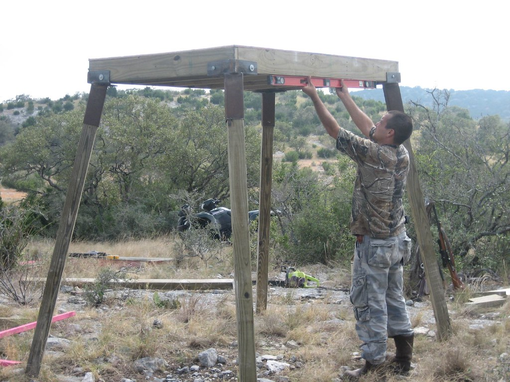 Working on an elevated deer blind eddie garza flickr for Deer hunting platforms