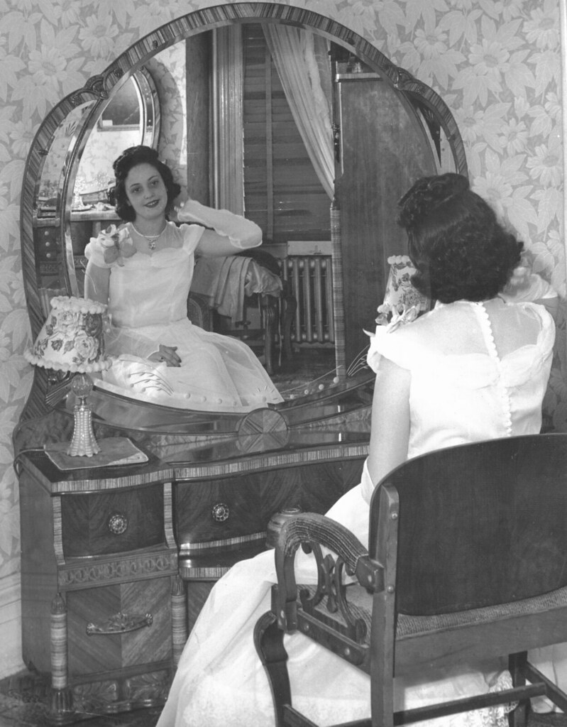 Mom Prom Dress Vanity Furniture 1948 40s This Was Taken