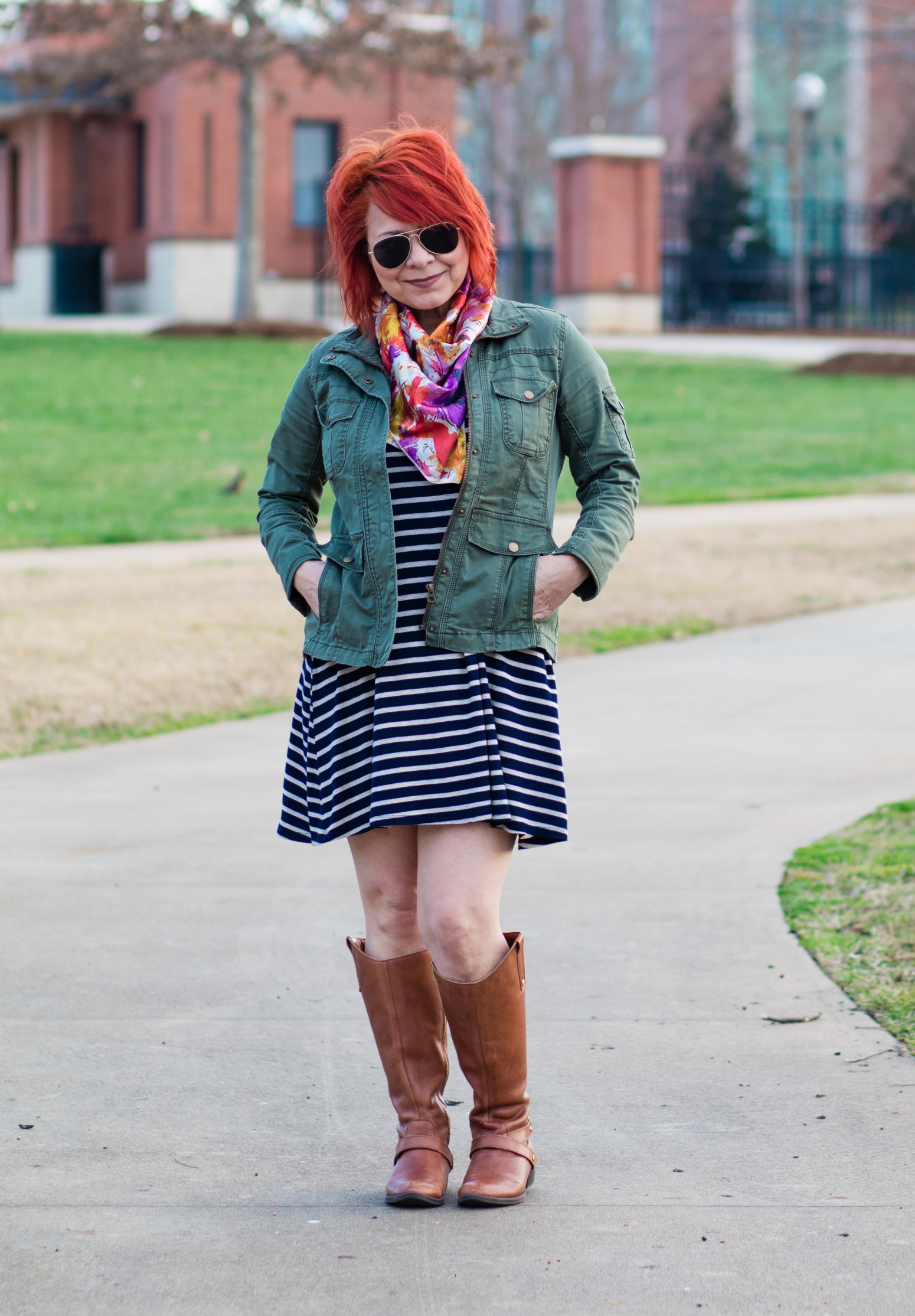 Utility-Jacket-Striped-Dress-Floral-Scarf-6