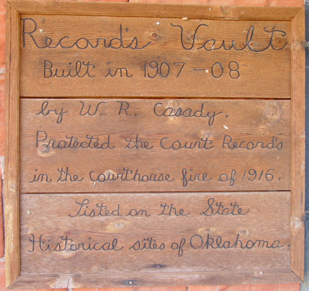 Old Roger Mills County Records Vault Marker (Cheyenne, Okl