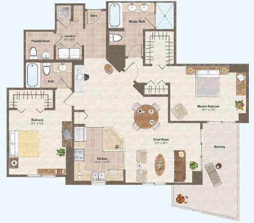 Two bed room condo floor plan 7 one las vegas condo for Condo plans free