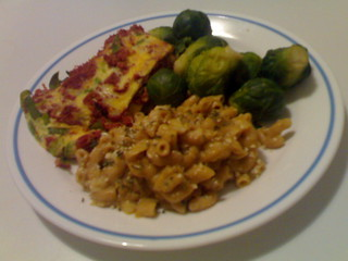 Corned Beef, Leek Inside Eggs, Whole Wheat Macaroni with Cream of Broccoli Soup, and Brussels Sprouts | by sillygwailo