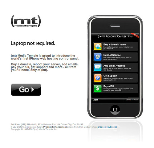 MediaTemple (mt) iPhone Account Center email | by markbult