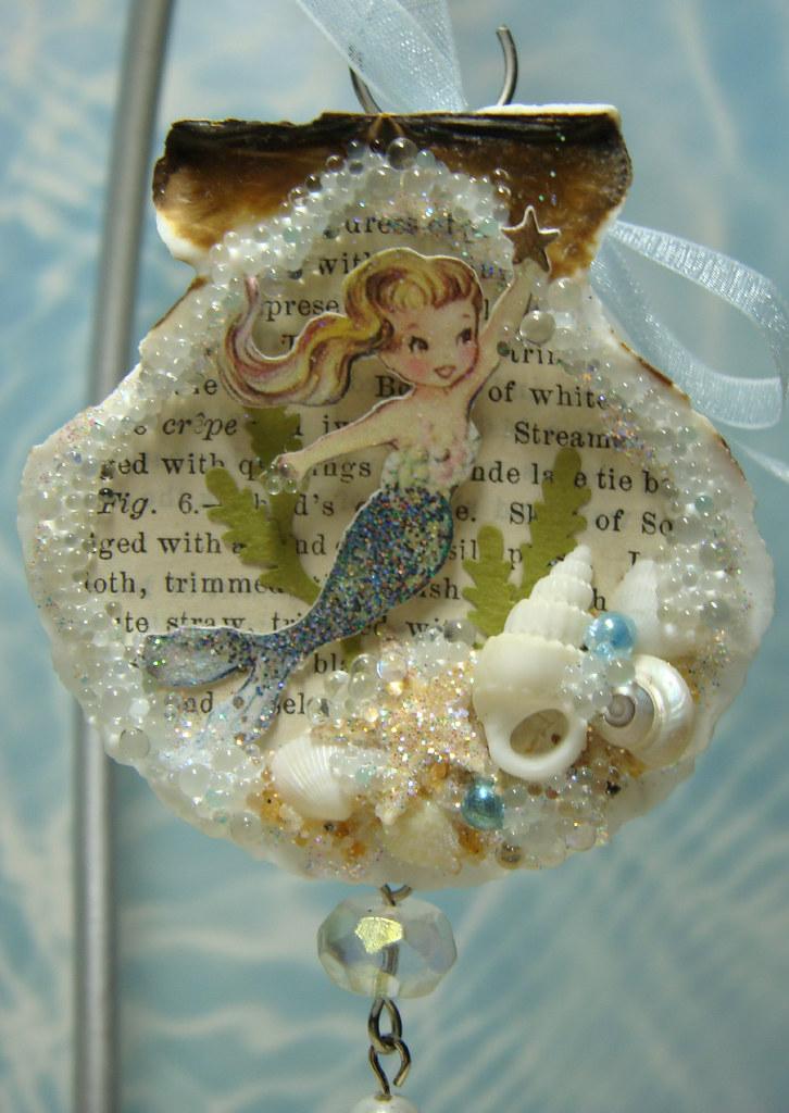 Ornament seashell ornament with vintage mermaid image for Seashell ornament ideas