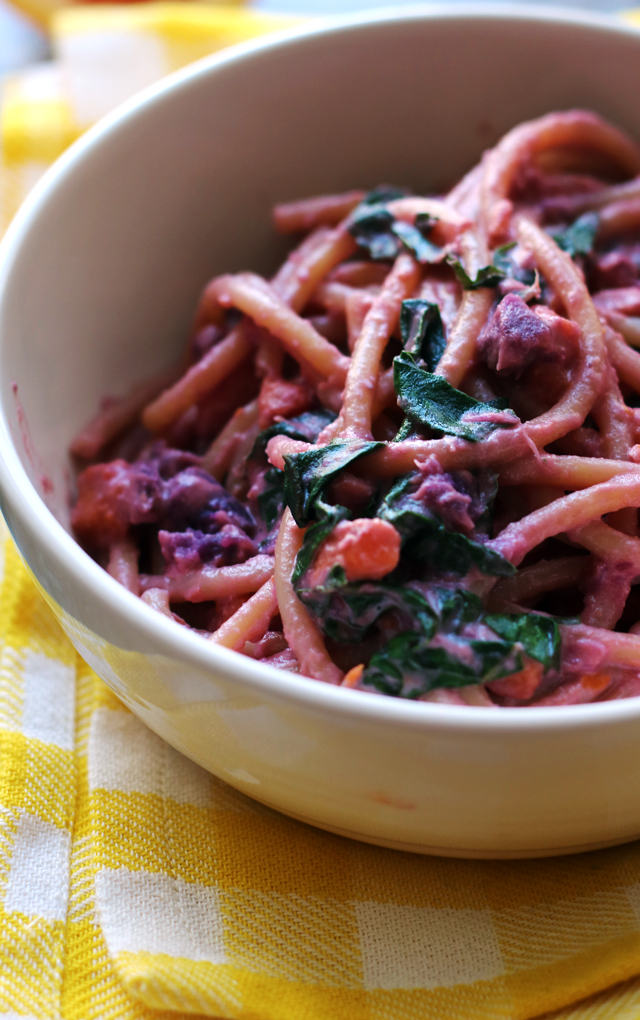Sweet Potato and Garlicky Swiss Chard Bucatini with Blood Orange Goat Cheese Sauce
