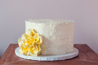 rustic wedding cake with sugar flower | by Sweet Lauren Cakes