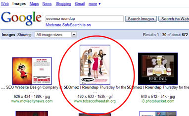 "Google image search for ""SEOmoz roundup"" 