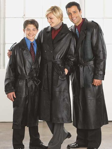 Family In Long Leather Trench Coats This Family Is Full