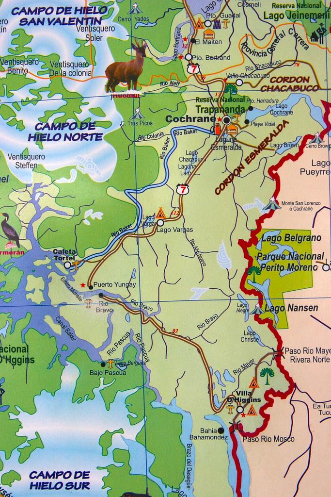CARRETERA AUSTRAL: mapa del sur de la Región de Aysén, Chi ...