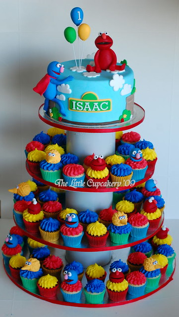 Sesame Street Cupcake Tower Created For A 1st Birthday