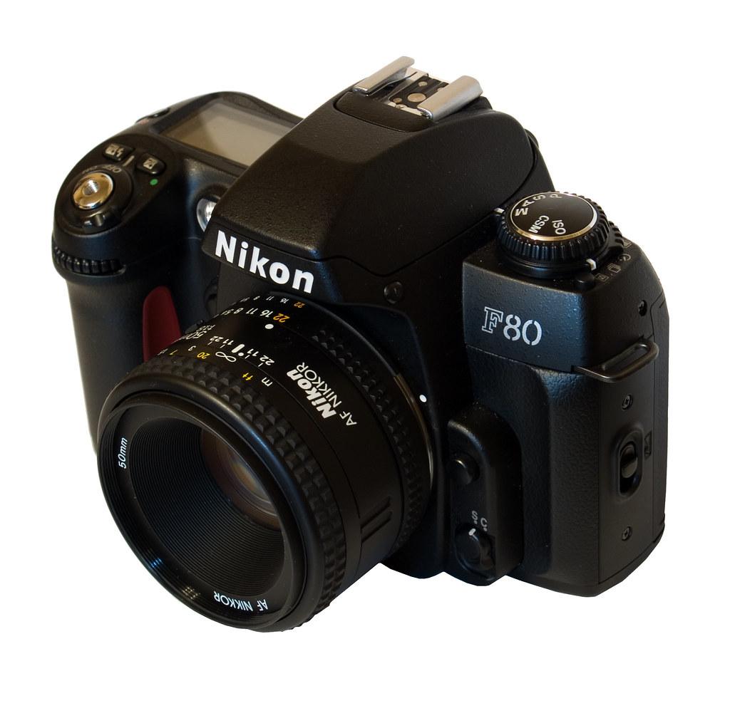 nikon f80 threequarter view with 50mm f18 tim