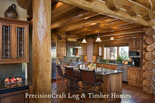 Handcrafted log home kitchen built in idaho precisionc for Log home kitchens gallery