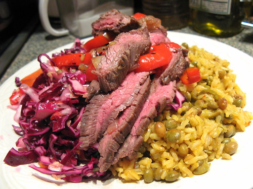 Adobo Flank Steak with Boriqua Slaw and Arroz Integral (Brown Rice) con Gandules (Pigeon Peas) | by jasonperlow