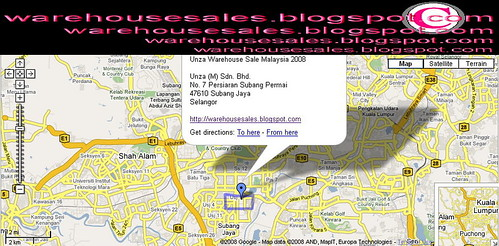 Unza Warehouse Sale Malaysia 2008 Persiaran Subang Permai Map | by ebayshopaholicfan