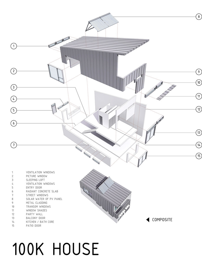 Exploded View Of 100k House  By Postgreen