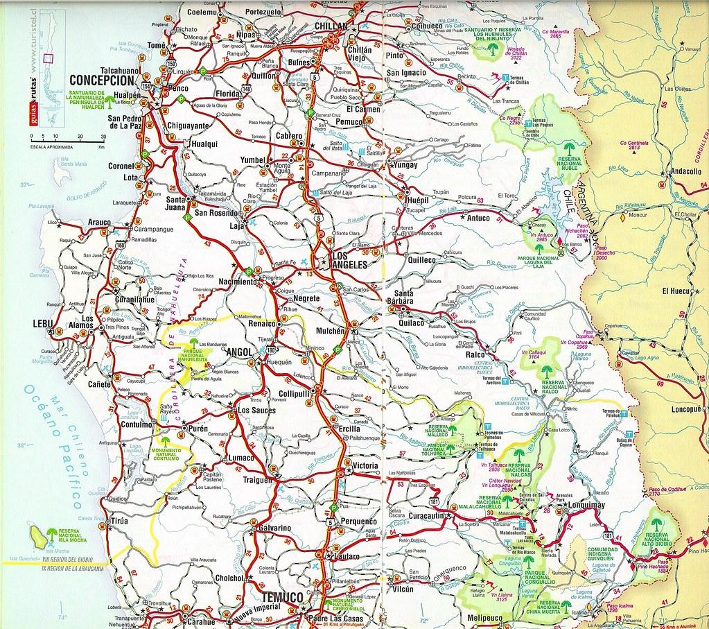 07b mapa de rutas de chile edici n 2008 chile road m for Mapa de santiago de chile