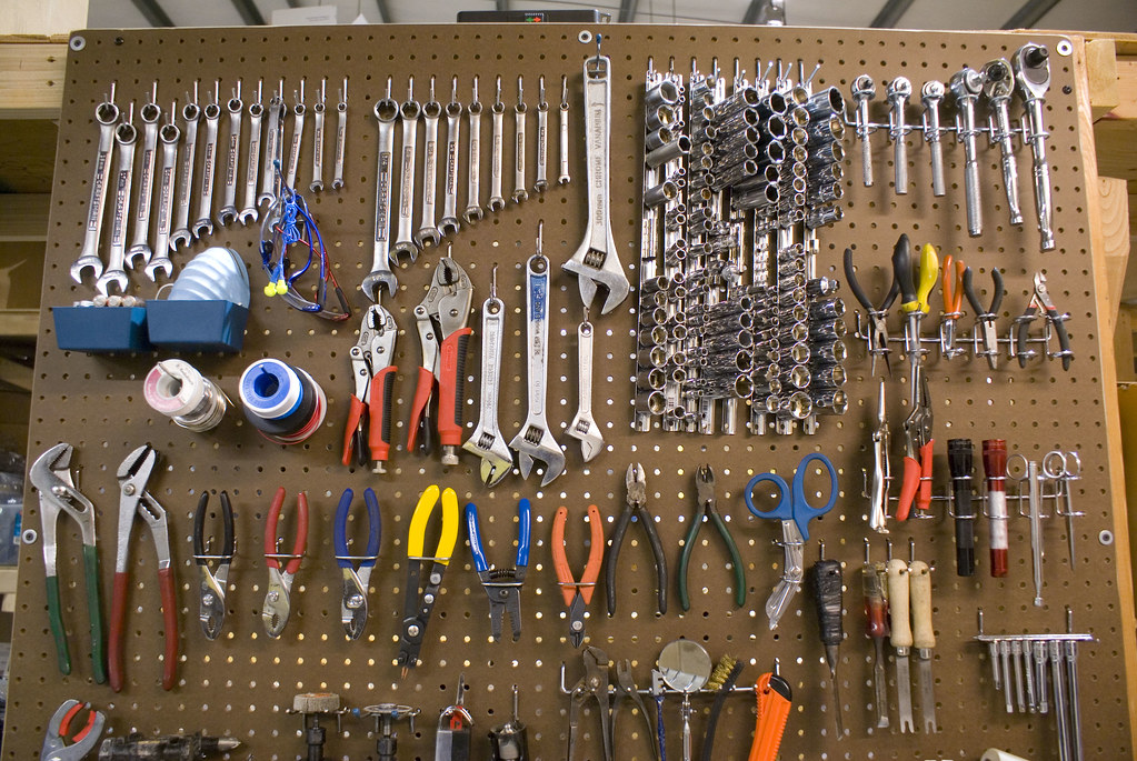 tools on pegboard bradjustinen flickr. Black Bedroom Furniture Sets. Home Design Ideas