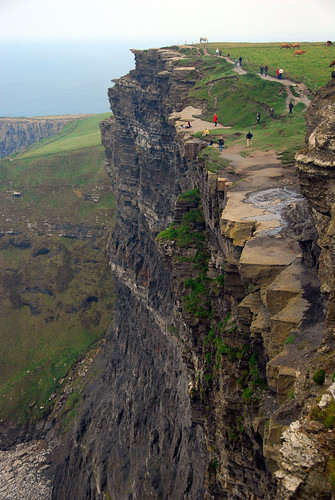 Looking down on the Cliffs of Moher on the west coast of Ireland