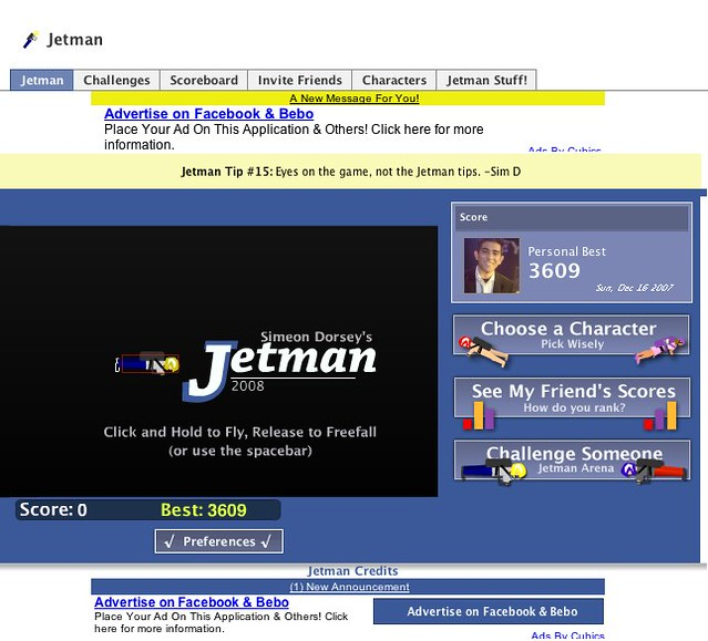 Facebook | Jetman | Notice how the ads are cut off but he is