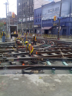 Streetcar Track Construction at Bathurst and Queen St. W | by sillygwailo