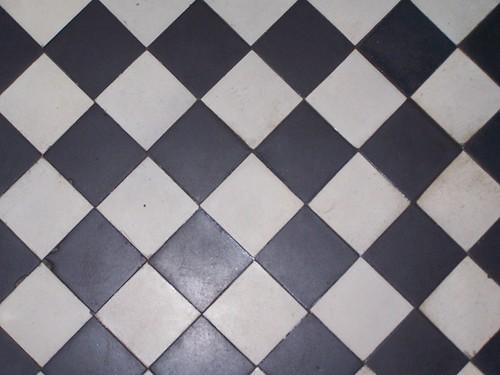 Checkerboard Tile Floor Kitchen
