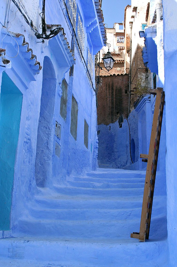 Blue Steps To Success: Stairs In Chefchaouen, Morocco