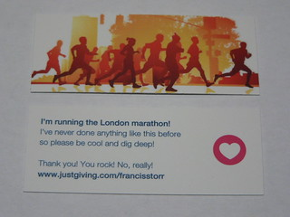 Both sides of my London marathon sponsorship Moo MiniCard | by Francis Storr
