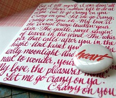 valentine card with vintage pin back button | by KisforCalligraphy