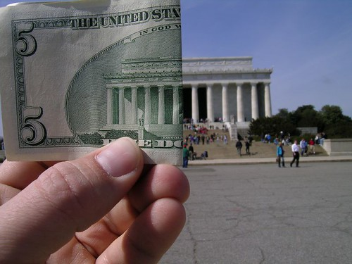 Lincoln Memorial and $5 | by zieak