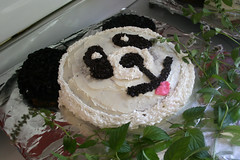 panda face cake with pink tongue | by woodleywonderworks