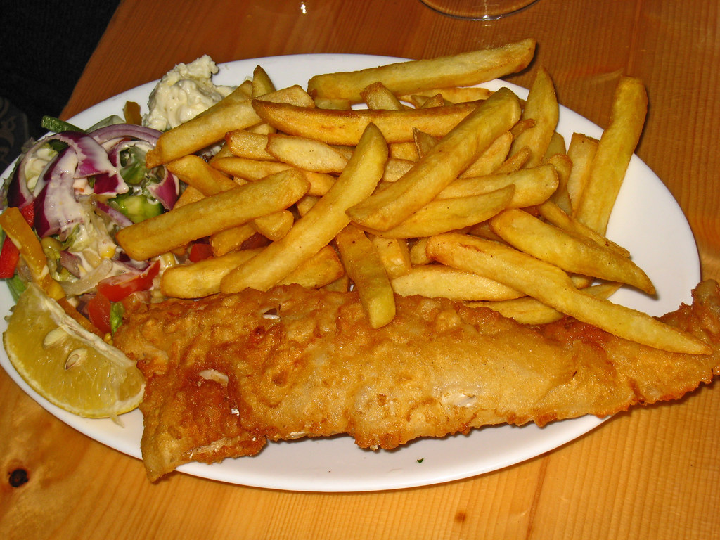 Fish and chips dinner the lobster pub waterville ancoir for Eds fish and chips