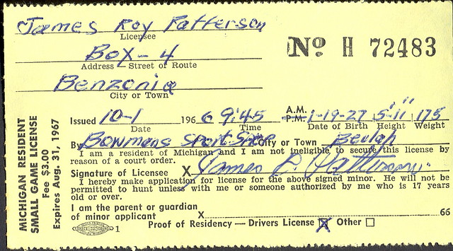 1967 michigan resident small game hunting license h72483 for Michigan non resident fishing license