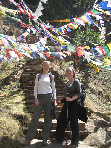 Me and Hazel on the prayer flag stairway to the monastery, Taktshang